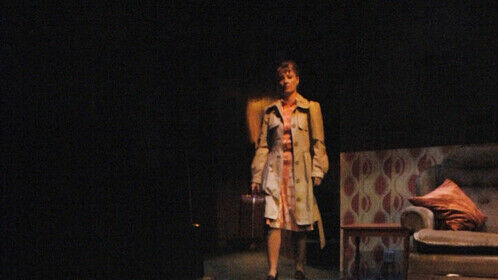 Tom Fool at Glasgow Citizens' Theatre 2006 and The Bush, London 2007. Cast: Liam Brennan, Meg Fraser and Richard Madden Director: Claire Lizzimore, Designer Paul Burgess, Lighting and sound Graham Sutherland. Photo credit: Richard Campbell.