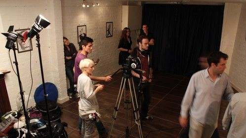 Filming the art gallery scene
