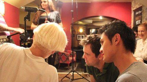 Filming the pub scene