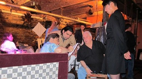 Producer Ronnie Banerjee on the set of Night Bird (2012) with Vinny Vella (Casino, The Sopranos, Analyze That)
