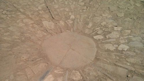 The wonderful sun-like design at the centre of the cobbles