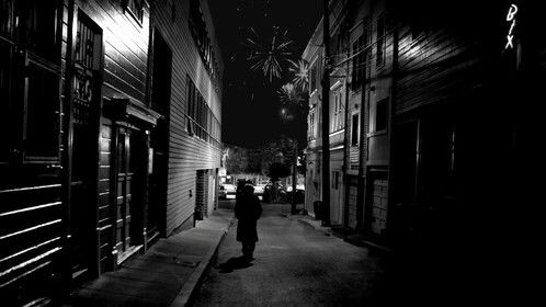 © 2013 Bum Rap alley scene..walls on sides reshot as a still to minimize film noise, and repasted back on top of film. Fireworks and neon added post.