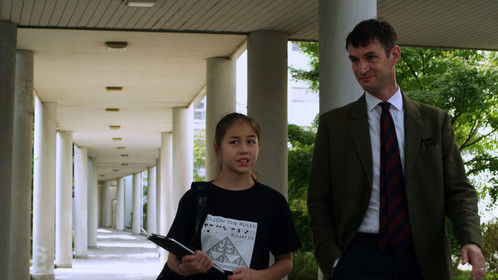 Production still from ANALYSIS stars Sofie Fella and Charles Mayer