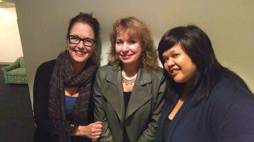 Director Nicole Dominguez (left), playwright Nanette Bulebosh, and actor Ellen D. Williams after premier of Nanette's