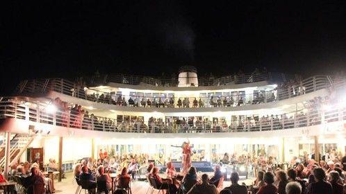 Lilli Moore singing aboard the Marco Polo near Brazil