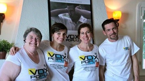 Lynn Foley (voice-over actress), Sky Tallone (writer/director), Kari Wishingrad (actress) and Jake Lyall (actor) gather for the screening of Vox Populi at the Hollywood Reel Independent Film Festival in LA.