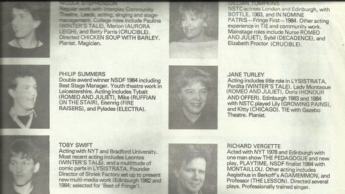 Page from the Bretton Hall yearbook 1985.
