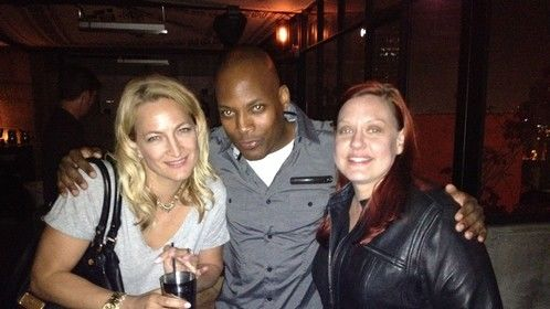 """Me and Zoe Bell at Tarantino's """"Hateful Eight"""" reading afterparty. Awesome time!"""
