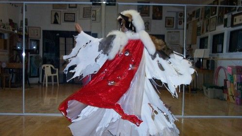 Shaman - I made about a dozen of these for HILTI Corporation in 2004 Leather, velvet, bones, beads, feathers, furs, cotton.