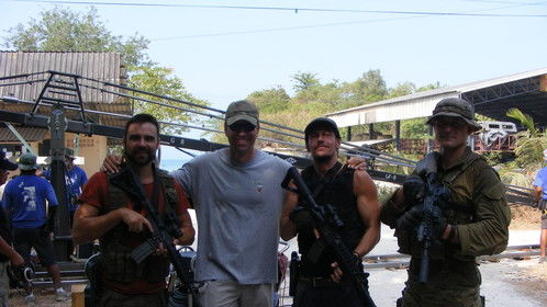 Big smiles with the guys I trained on guns and tactics with legendary military Technical adviser Paul Hornsby.