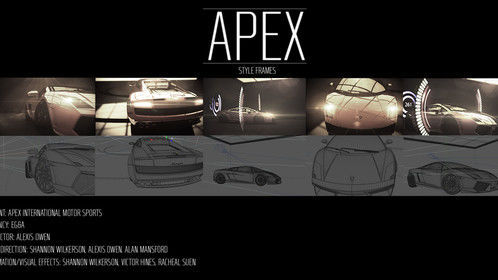 Project Apex.  Car Commercial.  All the 3D animation lighting, composting, motion graphics, and color correction was done by yours truly.