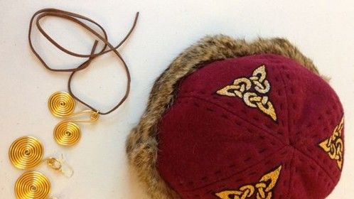 Hand embroidered Viking hat