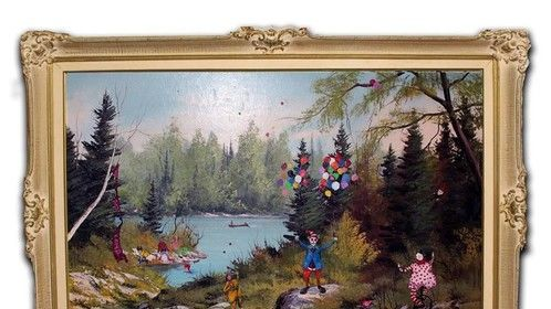 """Endangered Species/1983 Clown Camp  Complete!! Must see in person, photo is tough on details. Oil on Canvas  30"""" x 42"""" Antique Frame included (used found oil painting by E.A Lois as back drop for my subjects)"""
