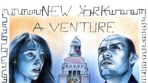 """Alessandro Fantini, """"New York, a venture"""", third poster, pencil, pastel and ball point pen on cardboard (2014)"""