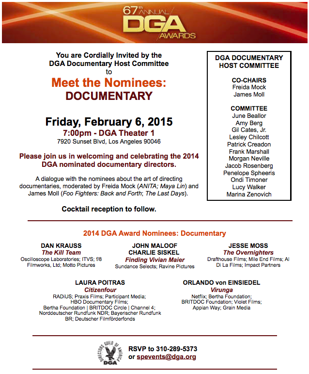 Special Invitation  DGA Awards 2015 Documentary Meet the Nominees